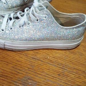 silver holographic glitter Converse all stars